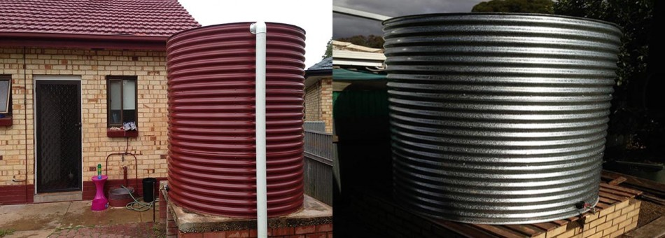 Custom built Aquaplate tank to match existing colours|Galvanised tank on existing base