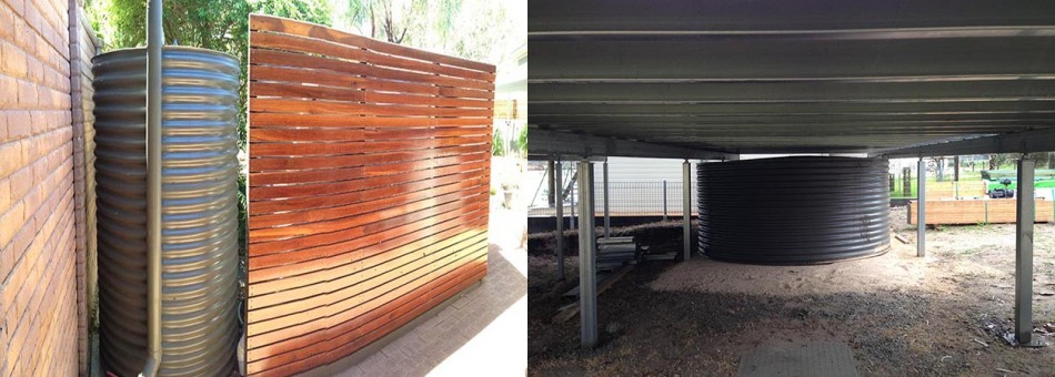 Slimline tank with timber wall squat tank installed under deck