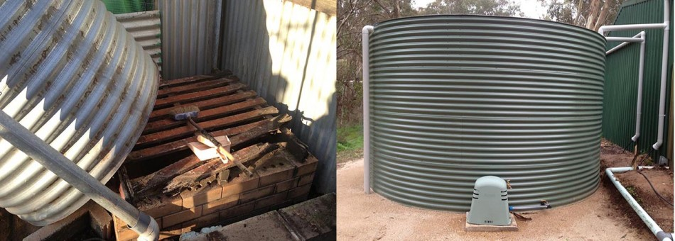replacing rotted base|fully installed custom tank