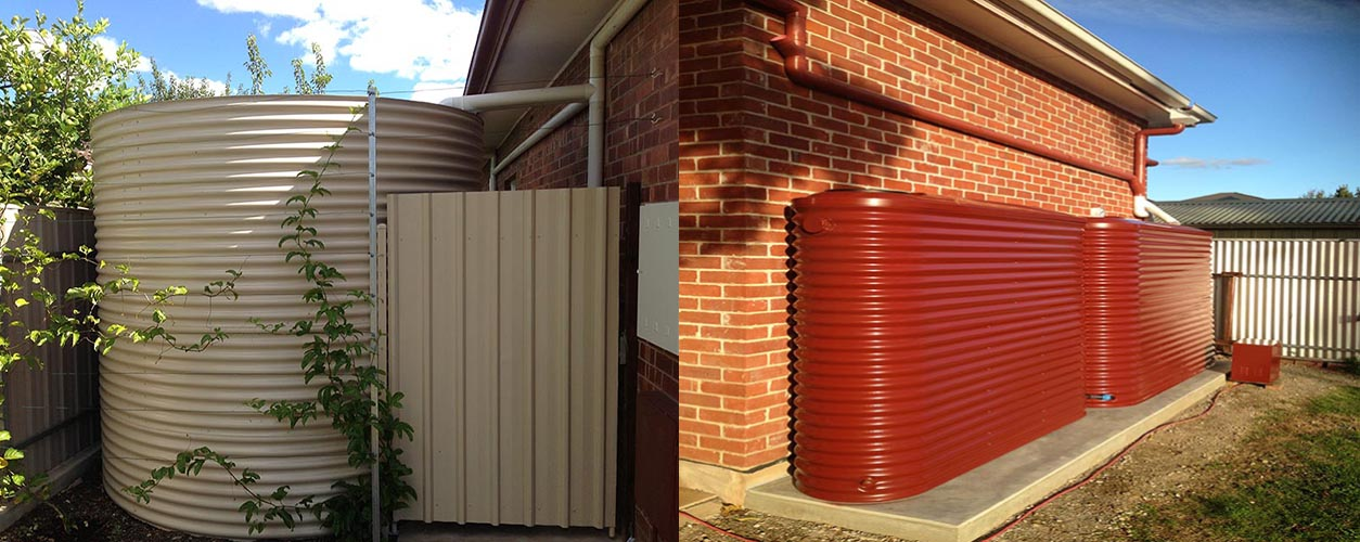 Slimline rainwater tanks fited into small situations