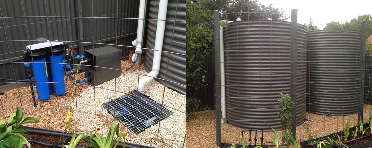 Pump setup and Grey rainwater tanks