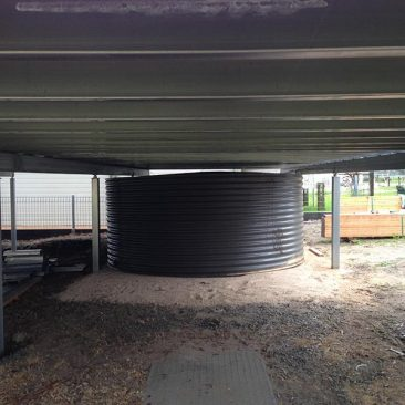 Built on site Aquaplate tank to fit under deck