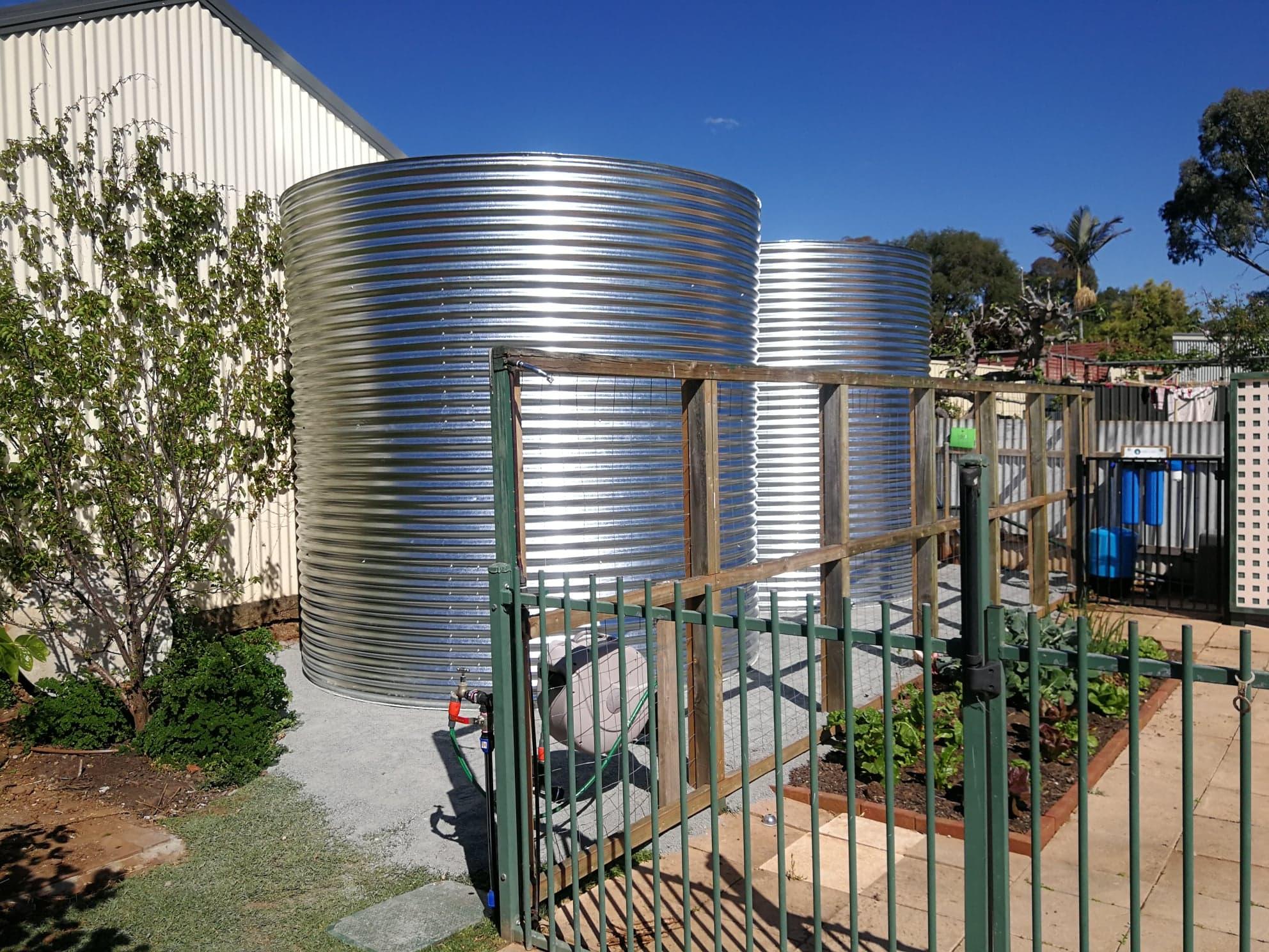 20,000ltr rainwater tanks in Magill established garden tight area
