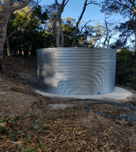 glavanised steel rainwater tank at forest range sa