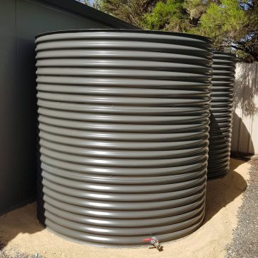 Completed Woodland Grey Aquaplate Rainwater Tanks, Munno Parra West