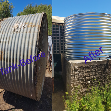 old rainwater tank next to new rainwater tank at edithburgh