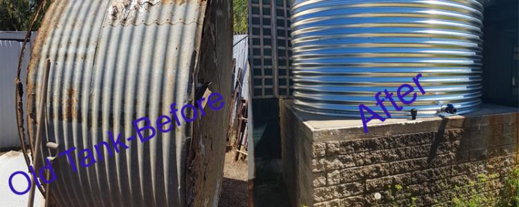 old rainwater tank next to new rainwater tank at edithburgh