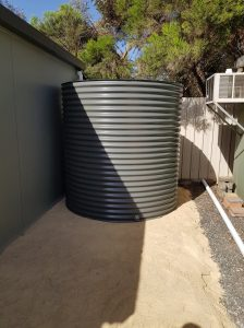 single woodland grey aquaplate rainwater tank on cream base