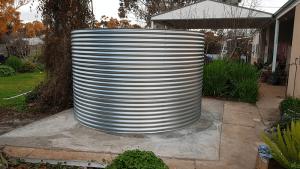 Galvanised Rainwater tank on concrete base