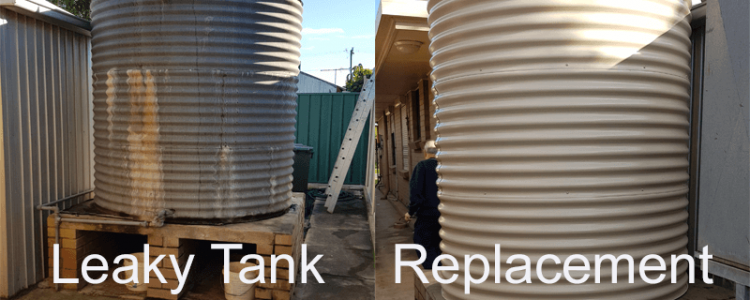 before and after of the replacement rainwater tank westbeach sa