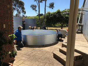 Base layer of galvanised rainwater tank in prospect hill sa