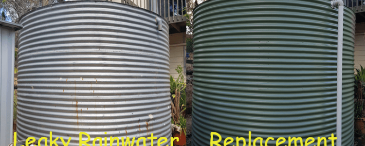 old rainwater tank next to new rainwater tank for comparison purposes