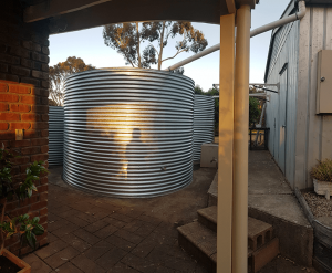 evening view of completed galvanised rainwater tanks at prospect hill sa