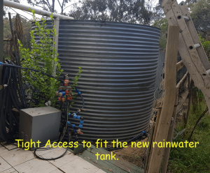 restricted access as indicated by the old rainwater tank with all the plants and garden around it.