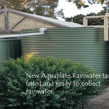 New rainwater tank in place ready to collect water Clarendon, SA