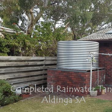 Completed rainwater tank in Aldinga SA