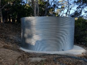 galvanised rainwater tank in Forest Range on concrete pad