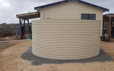"Aquaplate Rainwater Tank in ""Paperbark"" for Elliston, property."